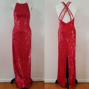 NITELINE Lady in RED Gantos Sequin long gown
